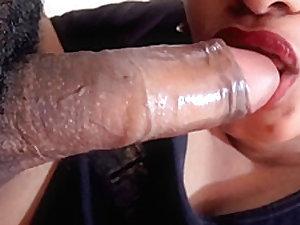 Red Lips Blowjob and Big Boobs Cum Shot