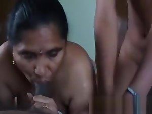 Desi Indian Mom Daughter Giving Blowjob To Their Neighbor